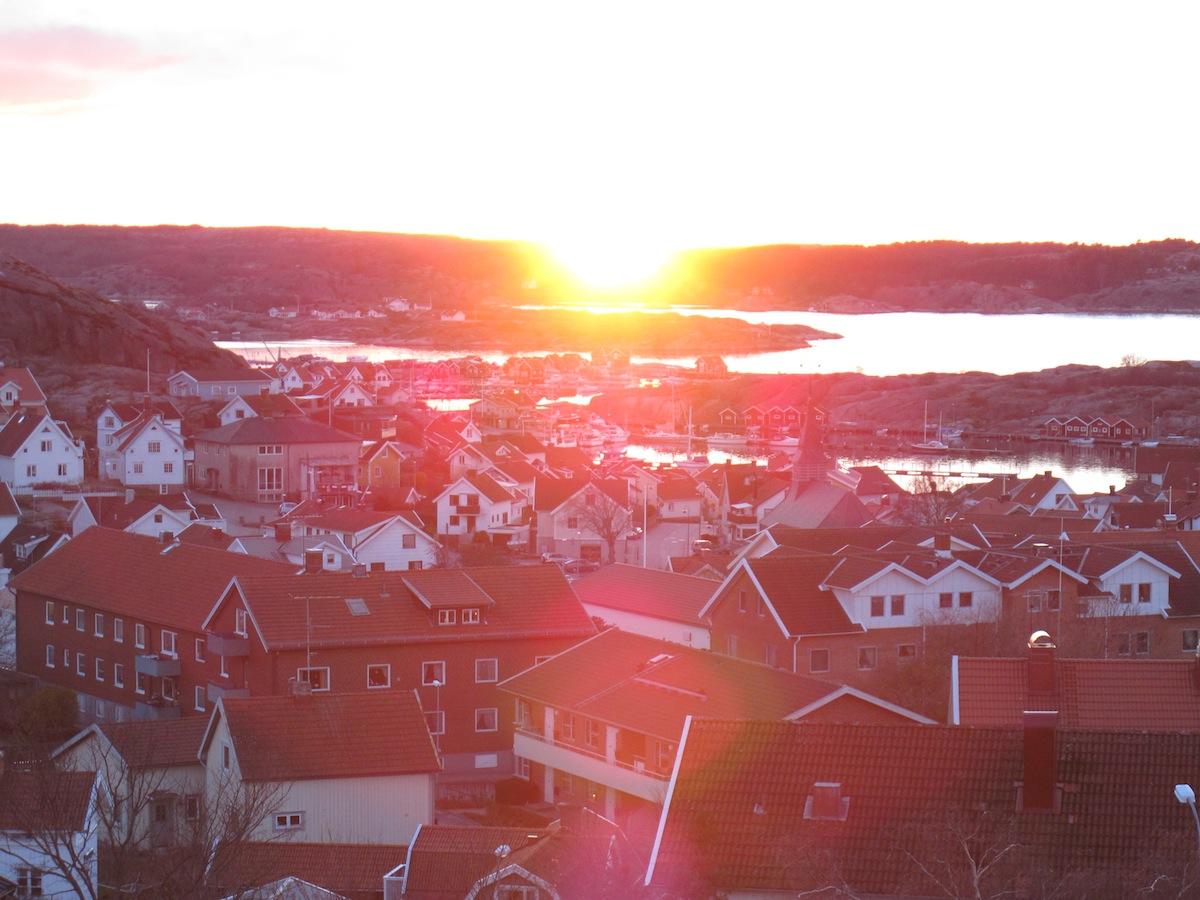 Fall sunset over Hunnebostrand