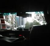 In a taxi Hong Kong